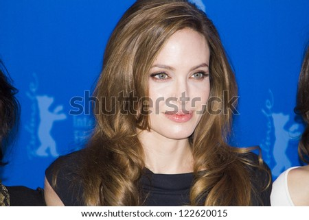 BERLIN, GERMANY - FEBRUARY 11: Angelina Jolie attends the 'In The Land Of Blood And Honey' Photocall during of the 62nd Berlin Film Festival at the Grand Hyatt on February 11, 2012 in Berlin, Germany - stock photo
