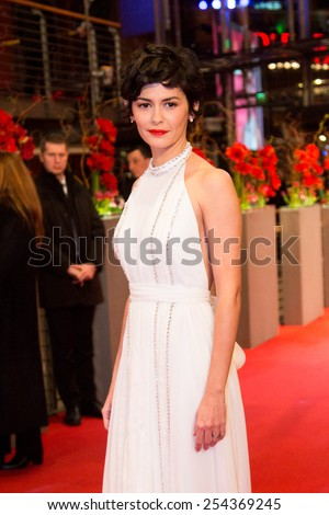 BERLIN, GERMANY - FEBRUARY 14: Audrey Tautou attends the Closing Ceremony of the 65th Berlinale International Film Festival at Berlinale Palace on February 14, 2015 in Berlin, Germany. - stock photo