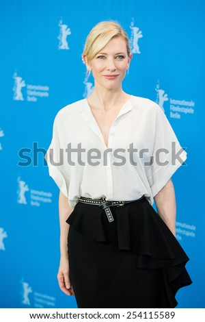 BERLIN, GERMANY - FEBRUARY 13: Cate Blanchett, 'Cinderella' photo-call, 65th Berlinale International Film Festival at Grand Hyatt Hotel on February 13, 2015 in Berlin, Germany  - stock photo
