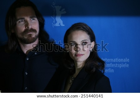 BERLIN, GERMANY - FEBRUARY 08:  Christian Bale, Natalie Portman pose during the photocall of 'Knight of Cups' within the 65th Berlin Film Festival in Berlin, Germany on February 08, 2015. - stock photo
