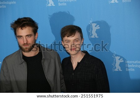 BERLIN, GERMANY - FEBRUARY 09:  Dane DeHann, Robert Pattinson attend the 'Life' photocall during the 65th Berlinale Film Festival at Grand Hyatt Hotel on February 9, 2015 in Berlin, Germany. - stock photo