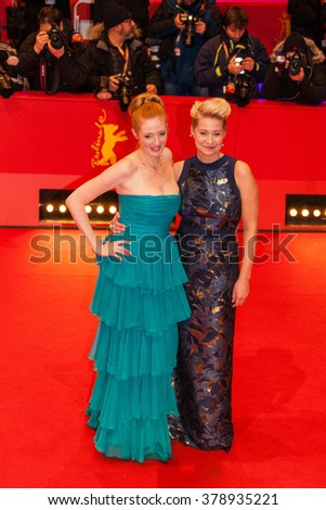 Berlin, Germany - February 17, 2016  - Danish actress Trine Dyrholm and actress Julie Agnete Vang attend the 'The Commune' (Kollektivet) premiere during the 66th Berlinale International Film Festival - stock photo