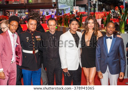 Berlin, Germany - February 16, 2016  - Darrell Britt-Gibson, Johnny Ortiz, Military advisor Daniel Torres, Rafi Pitts and actress Pollyanna Uruena attend the 'Soy Nero' premiere during 66th Berlinale - stock photo