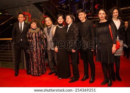 BERLIN, GERMANY - FEBRUARY 14: Do Thi Hai Yen, Calvin Tai Lam  and film team attend the Closing Ceremony of the 65th Berlinale International Film Festival on February 14, 2015 in Berlin, Germany - stock photo