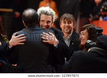 "BERLIN - GERMANY - FEBRUARY 11: Ethan Hawke at the 63rd Annual Berlinale International Film Festival ""Before Midnight"" premiere at Berlinale Palast on February 11, 2013 in Berlin, Germany. - stock photo"