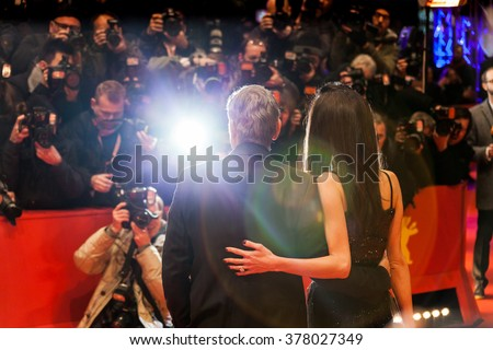 Berlin, Germany - February 11, 2016 -George Clooney and Amal Clooney attend  the 'Hail, Caesar!' premiere during the 66th Berlinale International Film Festival - stock photo