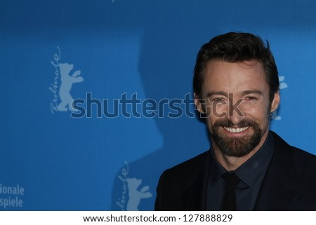 BERLIN, GERMANY - FEBRUARY 09: Hugh Jackman  attends the 'Les Miserables' Photocall during the 63rd Berlinale International Film Festival at Grand Hyatt Hotel on February 9, 2013 in Berlin, Germany - stock photo