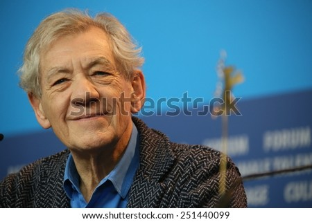 BERLIN, GERMANY - FEBRUARY 08: Ian McKellen attends a press conference of the film 'Mr Holmes' presented in the competition of the 65th Berlin Festival Berlinale in Berlin, on February 8, 2015. - stock photo
