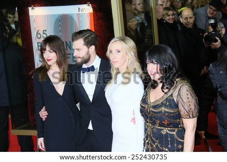 BERLIN, GERMANY - FEBRUARY 11: Jamie Dornan Dakota, Johnson and attend the 'Fifty Shades of Grey' premiere during the 65th Berlinale Festival at Zoo Palast on February 11, 2015 in Berlin, Germany. - stock photo