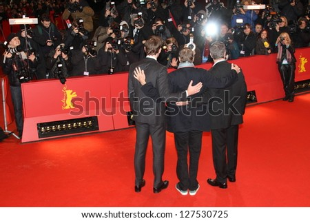 BERLIN, GERMANY - FEBRUARY 08: John Krasinski,  Matt Damon and  Gus Van Sant attend 'Promised Land' Premiere during the 63rd Film Festival at Berlinale Palast on February 8, 2013 in Berlin, Germany - stock photo