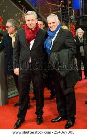 BERLIN, GERMANY - FEBRUARY 14: Klaus Wowereit and partner Joern Kubicky . Closing Ceremony. 65th Berlinale International Film Festival at Berlinale Palace on February 14, 2015 in Berlin, Germany. - stock photo