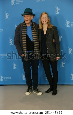 BERLIN, GERMANY - FEBRUARY 08: Laura Linney and Ian McKellen attends a photocal of the film 'Mr Holmes' presented in the competition of the 65th Film Festival Berlinale in Berlin, on February 8, 2015 - stock photo