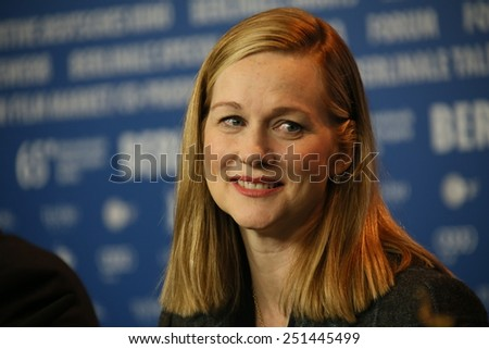 BERLIN, GERMANY - FEBRUARY 08: Laura Linney attends a press conference of the film 'Mr Holmes' presented in the competition of the 65th Film Festival Berlinale in Berlin, on February 8, 2015 - stock photo