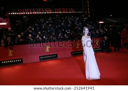 BERLIN, GERMANY - FEBRUARY 13: Lily James attends the 'Cinderella' premiere during the 65th Berlinale Film Festival at Berlinale Palace on February 13, 2015 in Berlin, Germany. - stock photo
