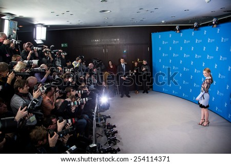 BERLIN, GERMANY - FEBRUARY 13: Lily James, 'Cinderella' photocall.65th Berlinale International Film Festival at Grand Hyatt Hotel on February 13, 2015 in Berlin, Germany - stock photo