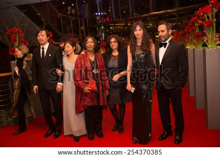 BERLIN, GERMANY - FEBRUARY 14: M. Dutta, W.i A. Had, H. Altindere and  indian film team. Closing Ceremony, 65th Berlinale International Film Festival on February 14, 2015 in Berlin, Germany. - stock photo