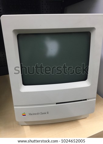 Berlin, Germany - February 7, 2018: Macintosh Classic II Apple computer. The Macintosh Classic II is a personal computer designed, manufactured and sold by Apple Computer, Inc. from 1991 to 1993