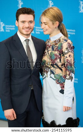 BERLIN, GERMANY - FEBRUARY 13: Richard Madden, Lily James, 'Cinderella' photocall.65th Berlinale International Film Festival at Grand Hyatt Hotel on February 13, 2015 in Berlin, Germany - stock photo