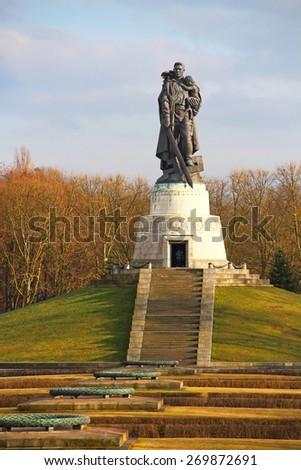 BERLIN, GERMANY - FEBRUARY 2, 2015:  Soviet War Memorial built in 1945 in Treptower park, Berlin, Germany - stock photo