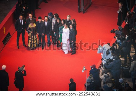 BERLIN, GERMANY - FEBRUARY 13, 2015: the cast attend the 'Big Father, Small Father and Other Stories ' (Cha va con va) premiere during the 65 Berlinale International Film Festival at Berlinale Palace