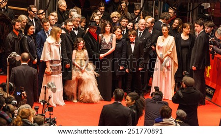 BERLIN, GERMANY - FEBRUARY 10: the cast attend the 'Every Thing Will Be Fine' premiere during the 65th Berlinale International Film Festival at Berlinale Palace on February 10, 2015 in Berlin, Germany