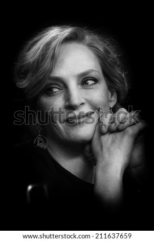 BERLIN, GERMANY - FEBRUARY 09: Uma Thurman attends the 'Nymphomaniac Volume I' (long version) press conference during 64th Berlinale Film Festival at Hyatt Hotel on February 9, 2014 in Berlin, Germany - stock photo