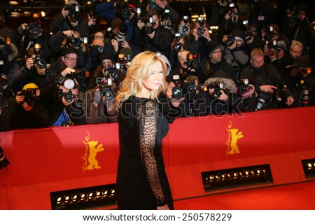 BERLIN, GERMANY - FEBRUARY 6: Veronica Ferres poses on the red carpet prior to the premeir of the movie 'Queen of the Desert' at the 65th Berlin Film Festival Berlinale in Berlin, on February 6, 2015. - stock photo