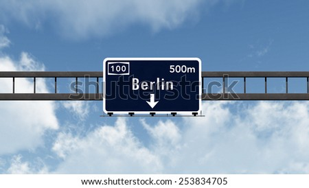 Berlin Germany Highway Road Sign 3D Illustration - stock photo