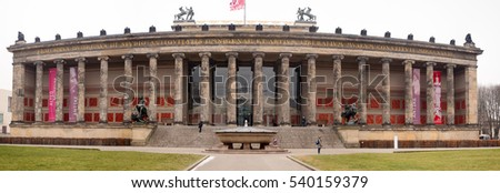 BERLIN, GERMANY - JANUARY 05, 2016: People visiting the Alte Nationalgalerie museum in Berlin Germany
