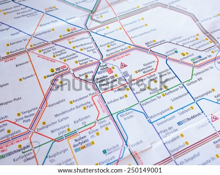 BERLIN, GERMANY - JANUARY 10, 2015: Tube map of Berlin Underground subway lines aka Ubahn - stock photo