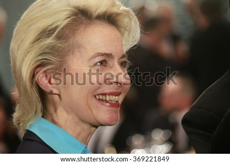 BERLIN, GERMANY - JANUARY 28, 2016: Ursula von der Leyen before a meeting with the German Chancellor in the Federal Chanclery in Berlin. - stock photo