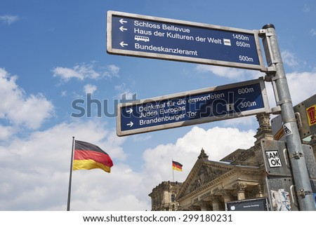 BERLIN, GERMANY - JULY 08: Berlin direction sign withGerman flag blowing in the wind in front of the Reichstag building. July 08, 2015 in Berlin.