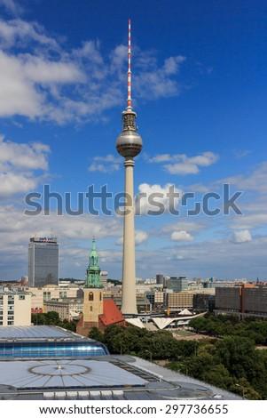 BERLIN, GERMANY - JULY 21, 2012: Fernsehturm (TV Tower) on Alexanderplatz in Berlin, Germany on July 21, 2012. - stock photo