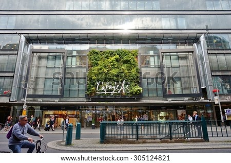 BERLIN, GERMANY -29 JULY 2015- Les Galeries Lafayette, a famous fashion department store in Paris, has a location on Friedrichstrasse in Berlin, Germany.