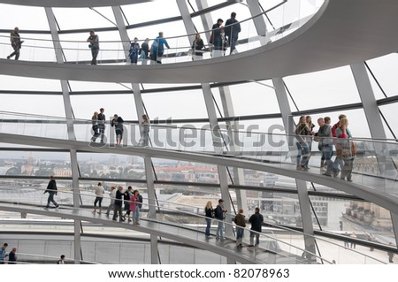 BERLIN, GERMANY - JULY 4:  Reichstag - the Parliament building of the German Empire. Opened in 1894 and housed the Parliament until 1933, when it was severely damaged. July 4th 2011, Berlin, Germany - stock photo