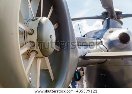 BERLIN / GERMANY - JUNE 3, 2016: airbus ec 135 helicopter from german army on airport schoenefeld, berlin / germany at june 3, 2016.