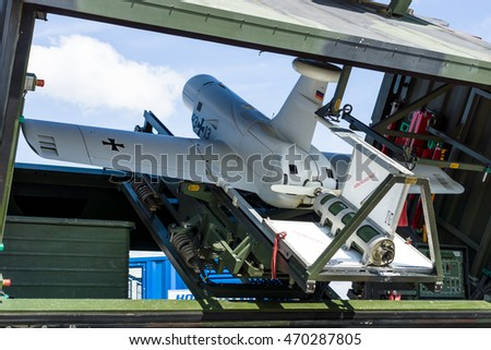 BERLIN, GERMANY - JUNE 03, 2016: An unmanned aerial vehicle (UAV) with stealth characteristics Rheinmetall KZO in the start position. German Army. Exhibition ILA Berlin Air Show 2016