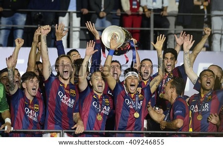 BERLIN, GERMANY - JUNE 8, 2015: Barcelona players pictured during the award ceremony held after winning the 2015 UEFA Champions League Final against Juventus Torino from Italy. - stock photo