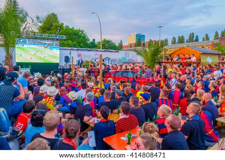 BERLIN, GERMANY - JUNE 06, 2015: Barcelona team fans supporting their team outside of the stadium in Berlin. Final match of champios league - stock photo
