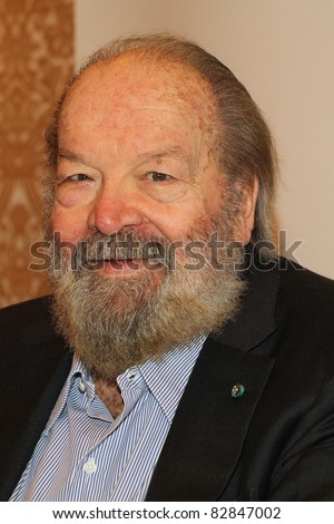 "BERLIN, GERMANY - JUNE 14: Bud Spencer (Carlo Pedersoli) promote his autobiography ""Mein Leben, Meine Filme"" at ""The Regent Hotel"" at a press confernece on June 14, 2011 in Berlin, Germany. - stock photo"