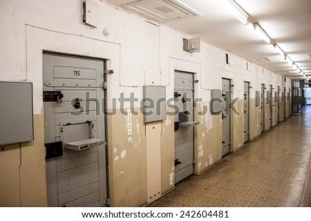 BERLIN, GERMANY - JUNE 7, 2013: Cells at Berlin-Hohenschonhausen Memorial, former prison of state police Stasi during communist era. - stock photo