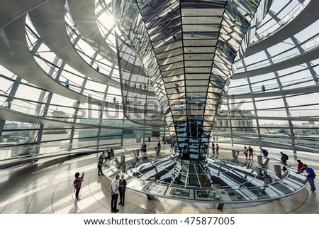 BERLIN, GERMANY - JUNE 30: Inner view of the famous Dome of the Reichstag in Berlin Mitte, Germany, Europe jun 30 2016