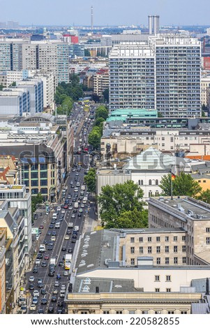 BERLIN, GERMANY - JUNE 16, 2014: Panoramic view from the Tower on Potsdamer Platz. Leipziger Strasse. Leipziger Strasse is a major thoroughfare in the central Mitte district of Berlin.