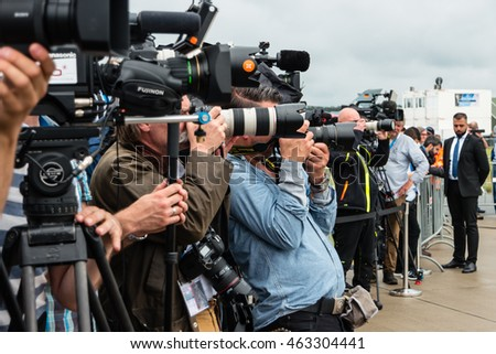 BERLIN, GERMANY - JUNE 01, 2016: Photographers and journalists at a press conference. Exhibition ILA Berlin Air Show 2016.