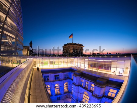 Berlin, Germany - June 5, 2016: Reichstag, seat of the German parliament.