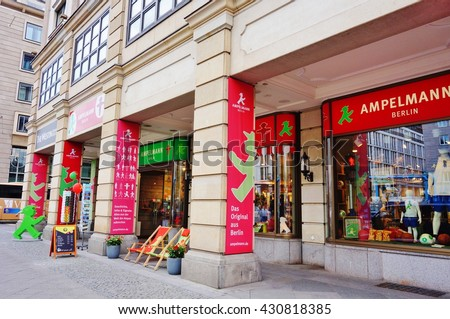 BERLIN, GERMANY -1 JUNE 2016- The Ampelmann store on Unter den Linden street in Berlin sells souvenirs in the shape of the man on the crossing signs at street lights in former East Germany.