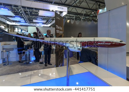 BERLIN, GERMANY - JUNE 01, 2016: The stand of the Boeing Company. Model of airliner Boeing 787-8 Dreamliner. Exhibition ILA Berlin Air Show 2016.