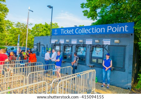 BERLIN, GERMANY - JUNE 06, 2015: Ticket point outside olimpic stadium in Berlin, Champions league final match - stock photo