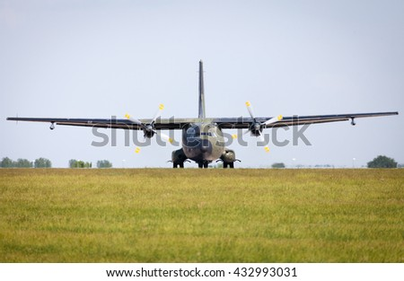 BERLIN / GERMANY - JUNE 3, 2016: Transall C-160 transport plane on airport in berlin / germany at june 3, 2016.