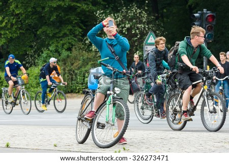 "BERLIN, GERMANY - JUNE 14, 2015: Under the slogan ""More space for bicycles"" and ""Bike Berlin - now!"" , held a cycling marathon."